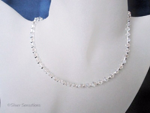Sparkly Swarovski Crystals & Sterling Silver Bicones Wedding Necklace